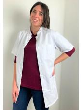 Blouse médicale blanche boutons pression, Femme, Lavage 60 degrés (CH14) vue face