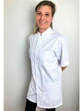 Blouse médicale blanche boutons pression, Femme, Lavage 60 degrés (CH14) vue modele coté