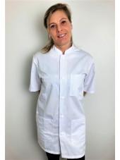 Blouse médicale blanche boutons pression, Femme, Lavage 60 degrés (CH14) vue modele face