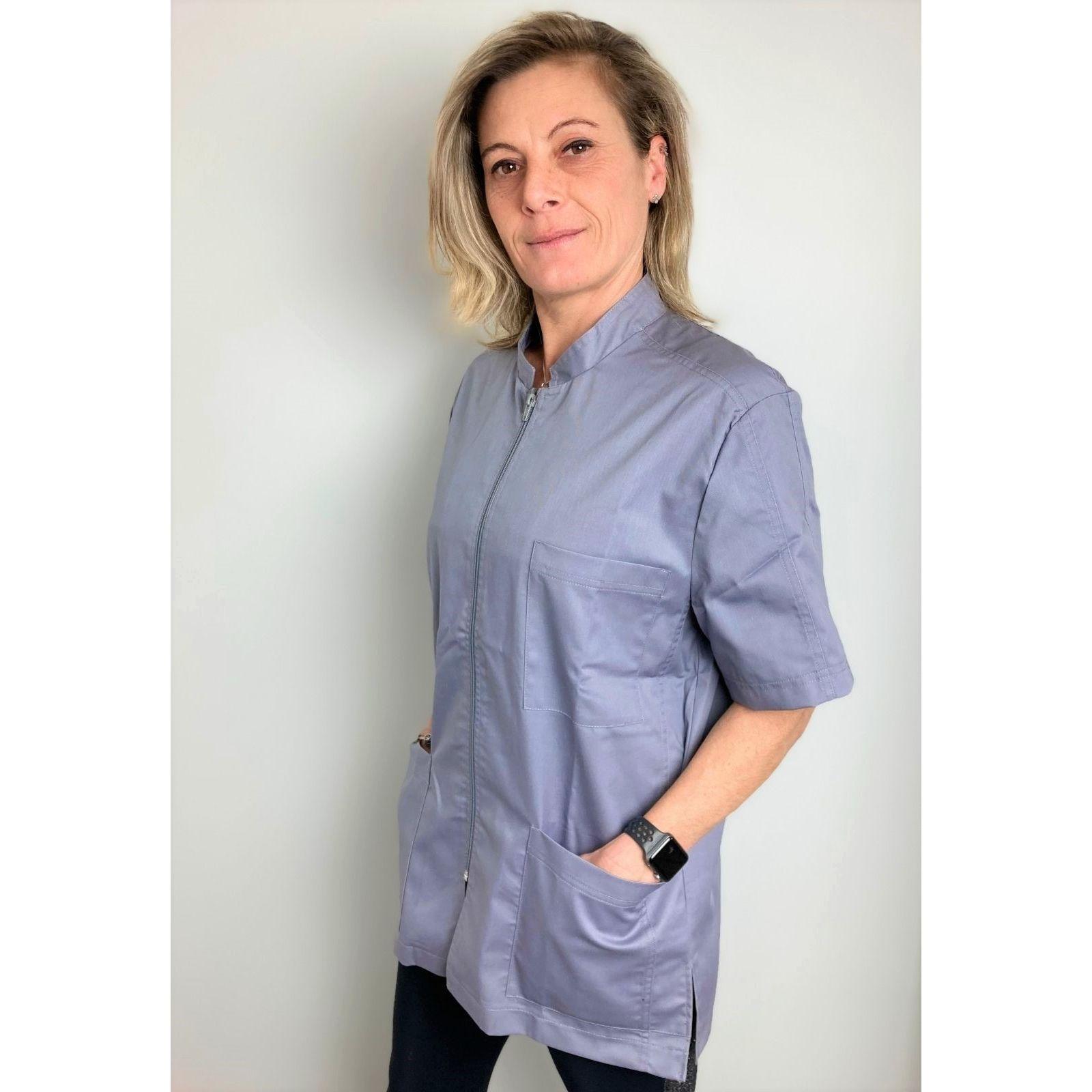 Blouse Médicale Gris, Femme, Fermeture éclair, Camille Lavandie (2622VGR) vue modele