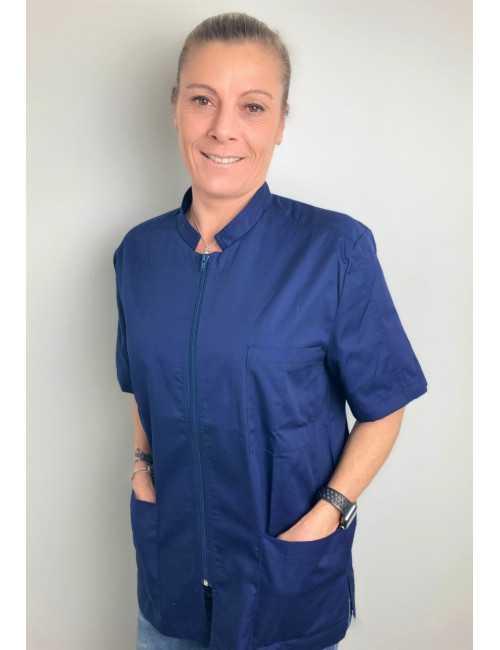 Blouse Médicale Bleu marine, Femme, Fermeture éclair, Camille Lavandie (2622COM)