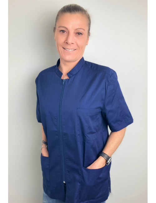 Medical Blouse Navy Blue, Woman, Zipper, Camille Lavandie (2622COM)