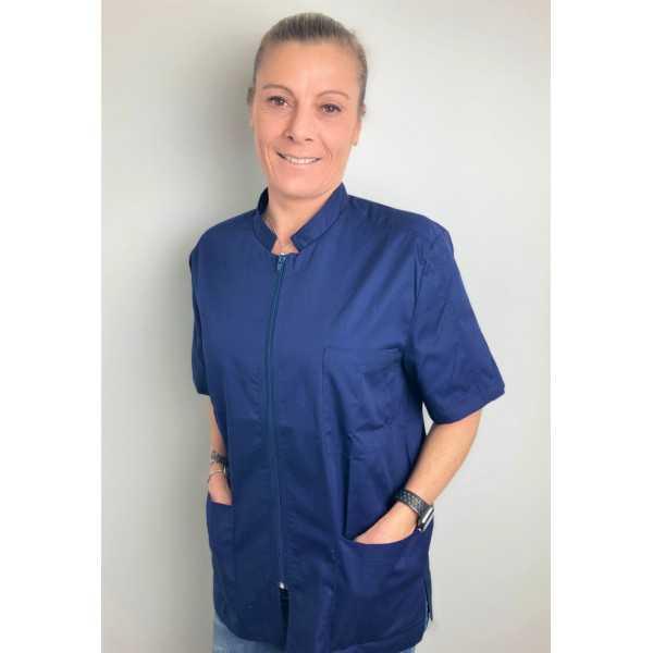 Blouse Médicale Bleu marine, Femme, Fermeture éclair, Camille Lavandie (2622COM) vue modele