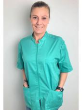 Blouse Médicale Vert d'eau, Femme, Fermeture éclair, Camille Lavandie (2622AQU) vue modele