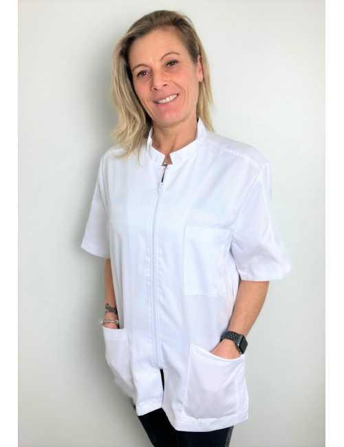 White Medical Blouse, Woman, Zipper, Camille Lavandie (2622WHW)