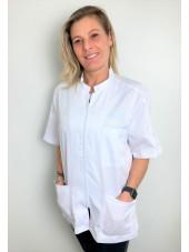 White Medical Blouse, Men, Zipper, Camille Lavandie (2622WHW)