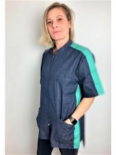 Blouse Médicale Denim Bicolore, Femme, Fermeture éclair, Camille Lavandie (2622DNA) vue modele
