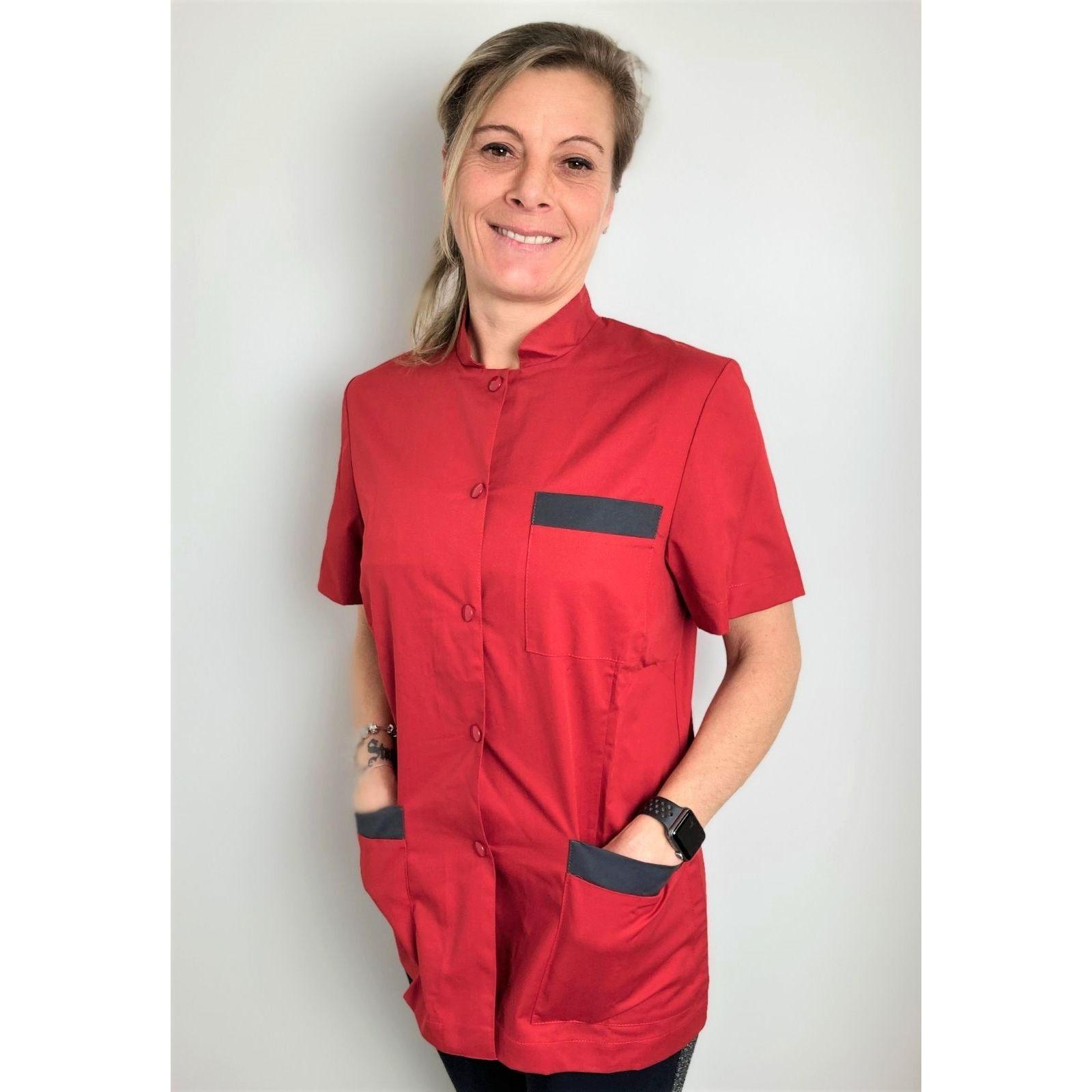 """Blouse Médicale pression femme, CMT collection """"Stretch bicolore"""" (2443) rouge"""