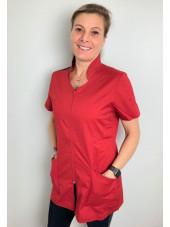 """Blouse médicale Stretch, col stylisé, CMT, Collection """"Stretch bicolore"""" (2617) rouge"""