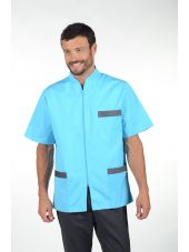 """Medical Stretch blouse, two-tone men's zip, CMT collection """"Stretch bicolor"""" (047)"""