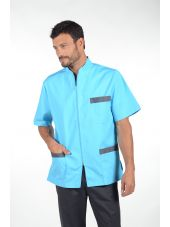"Blouse médicale Stretch, bicolore homme zippée, CMT collection ""Stretch bicolore"" (047)"