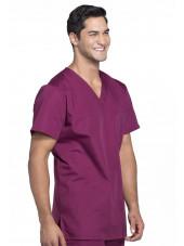 Blouse médicale Homme, 3 poches, Cherokee Workwear Originals (4876) bordeaux gauche