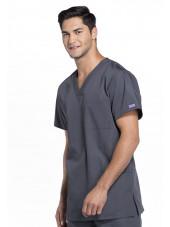Blouse médicale Homme, 3 poches, Cherokee Workwear Originals (4876) gris anthracite gauche