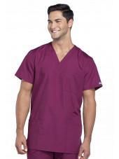 Blouse médicale Homme, 3 poches, Cherokee Workwear Originals (4876) bordeaux face
