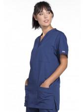 Blouse médicale Femme, 3 poches, Cherokee Workwear Originals (4876) bleu marine droite