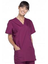 Blouse médicale Femme, 3 poches, Cherokee Workwear Originals (4876) bordeaux gauche