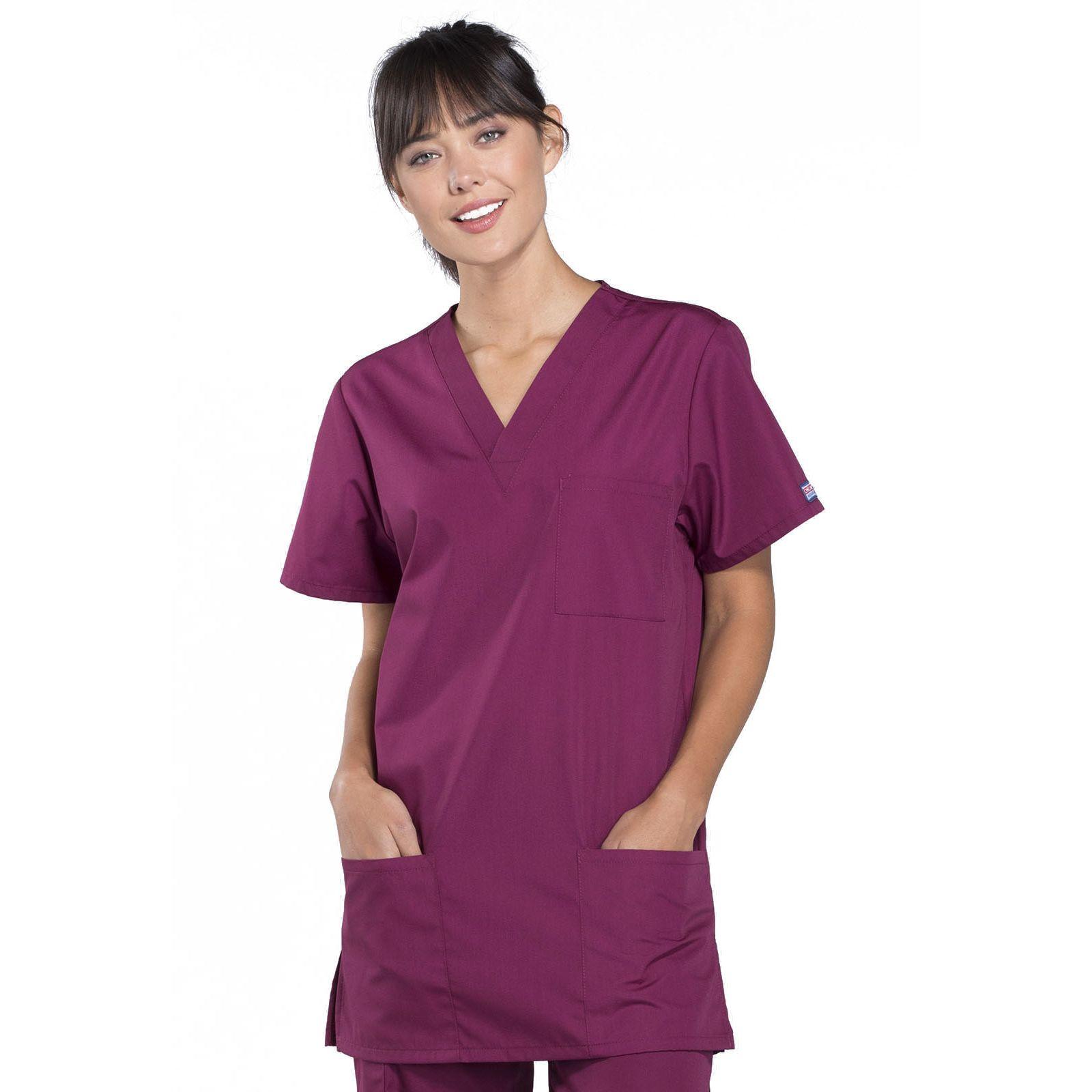 Blouse médicale Femme, 3 poches, Cherokee Workwear Originals (4876) bordeaux face