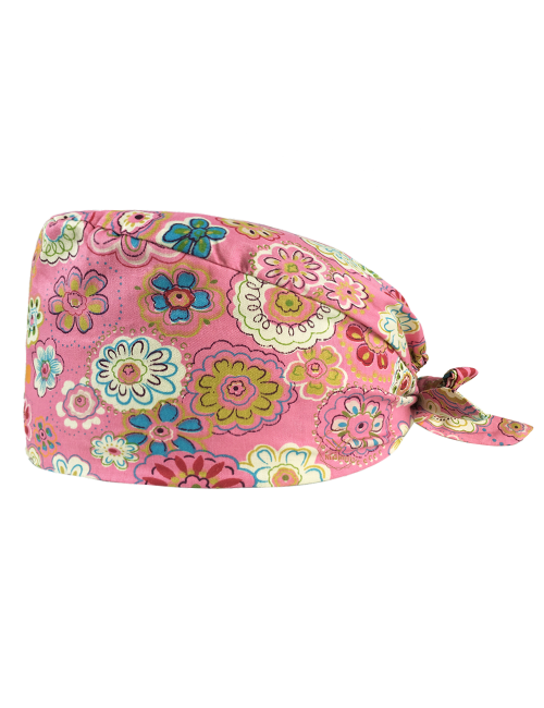 """Medical cap """"Flowers on red background"""" (209-12153)"""