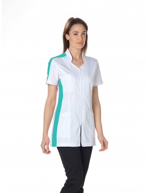 """Stretch medical gown, stylized collar, CMT, Collection """"Stretch bicolor"""" (2617)"""