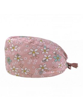 """Medical cap """"Daisies on pink background"""" (209-12024)"""