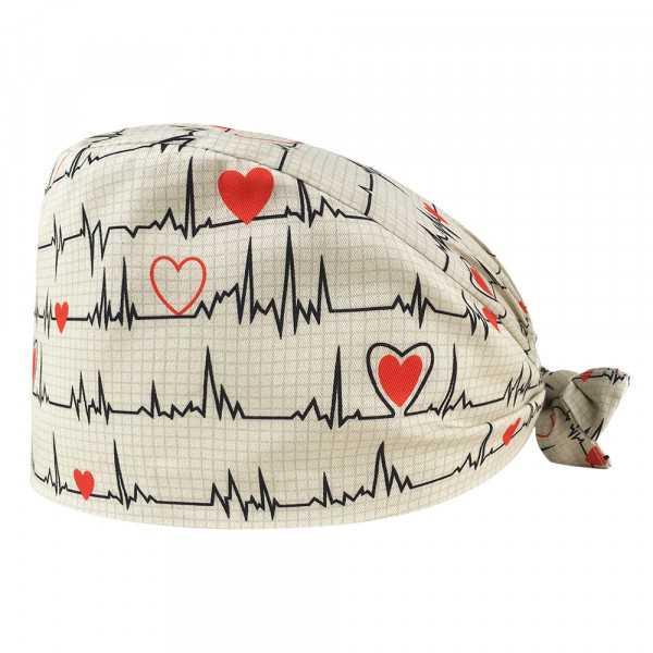 """Calot médical """"Battements coeur fond blanc"""" (209-22143) vue produit"""