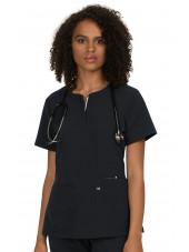 """Blouse médicale Femme Koi """"Retour à l'action"""", collection Koi Next Gen (1009) noir face"""