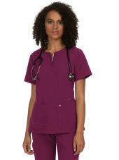 "Blouse médicale Femme Koi ""Retour à l'action"", collection Koi Next Gen (1009) bordeaux face"