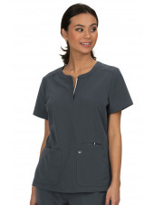 "Blouse médicale Femme Koi ""Retour à l'action"", collection Koi Next Gen (1009) gris anthracite face"