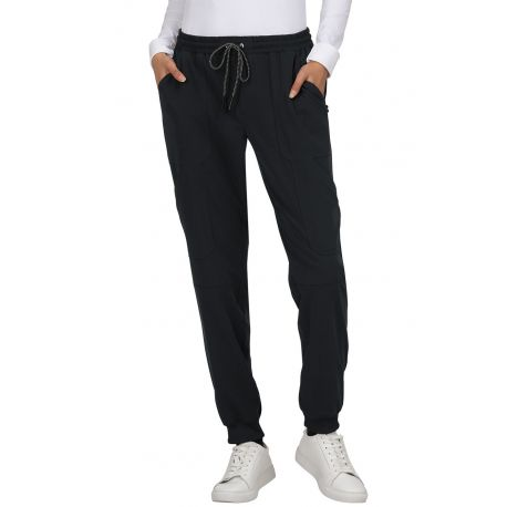 "Pantalon médical Femme Koi ""Ondes positives"", collection Koi Next Gen (740) noir face"