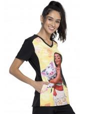 """Blouse médicale originale Femme """"Vaiana"""", Collection Tooniforms Disney (TF637) vue droite"""