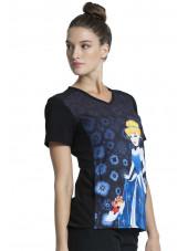 """Blouse médicale originale Femme """"Cendrillon"""", Collection Tooniforms Disney (TF637) vue droite"""