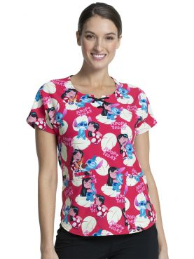 "Blouse médicale originale Femme ""Lilo et Stitch"", Collection Tooniforms Disney (TF744) vue face"