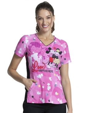 "Blouse médicale originale Femme ""Mickey et Minnie"", Collection Tooniforms Disney (TF747) vue face"
