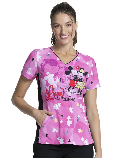 "Blouse médicale originale Femme ""Mickey et Minnie"", Collection Tooniforms Disney (TF747)"