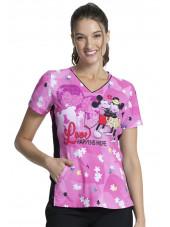 """Blouse médicale originale Femme """"Mickey et Minnie"""", Collection Tooniforms Disney (TF747) vue face"""