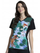 "Blouse médicale originale Femme ""Bambi"", Collection Tooniforms Disney (TF627) vue face"
