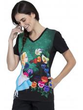 """Blouse médicale originale Femme """"Alice au pays des merveilles"""", Collection Tooniforms Disney (TF627) vue droite"""