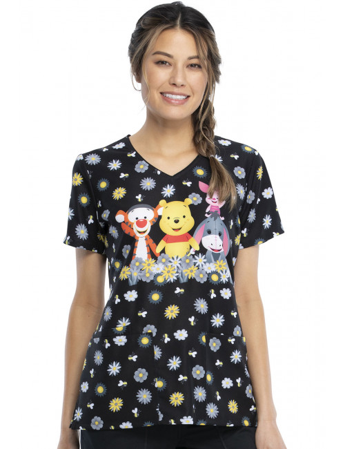 "Blouse médicale originale Femme ""Winnie l'Ourson"", Collection Tooniforms Disney (TF614) vue face"