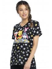 """Blouse médicale originale Femme """"Winnie l'Ourson"""", Collection Tooniforms Disney (TF614) vue droite"""