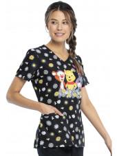 """Blouse médicale originale Femme """"Winnie l'Ourson"""", Collection Tooniforms Disney (TF614) vue gauche"""