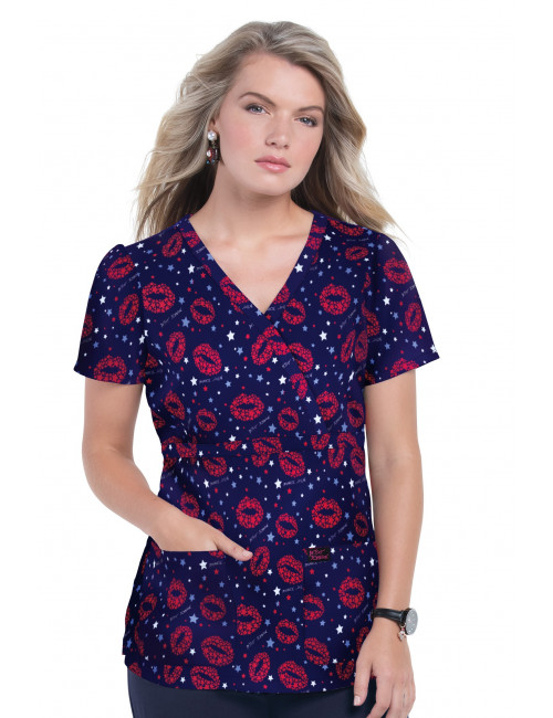 """Women's Original Medical Gown """"Mouth"""", Koi Collection (B117PR)"""