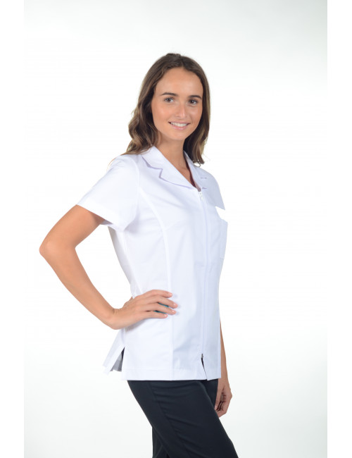 "Blouse médicale zip cintrée, CMT collection ""Stretch uni"" (2486)"