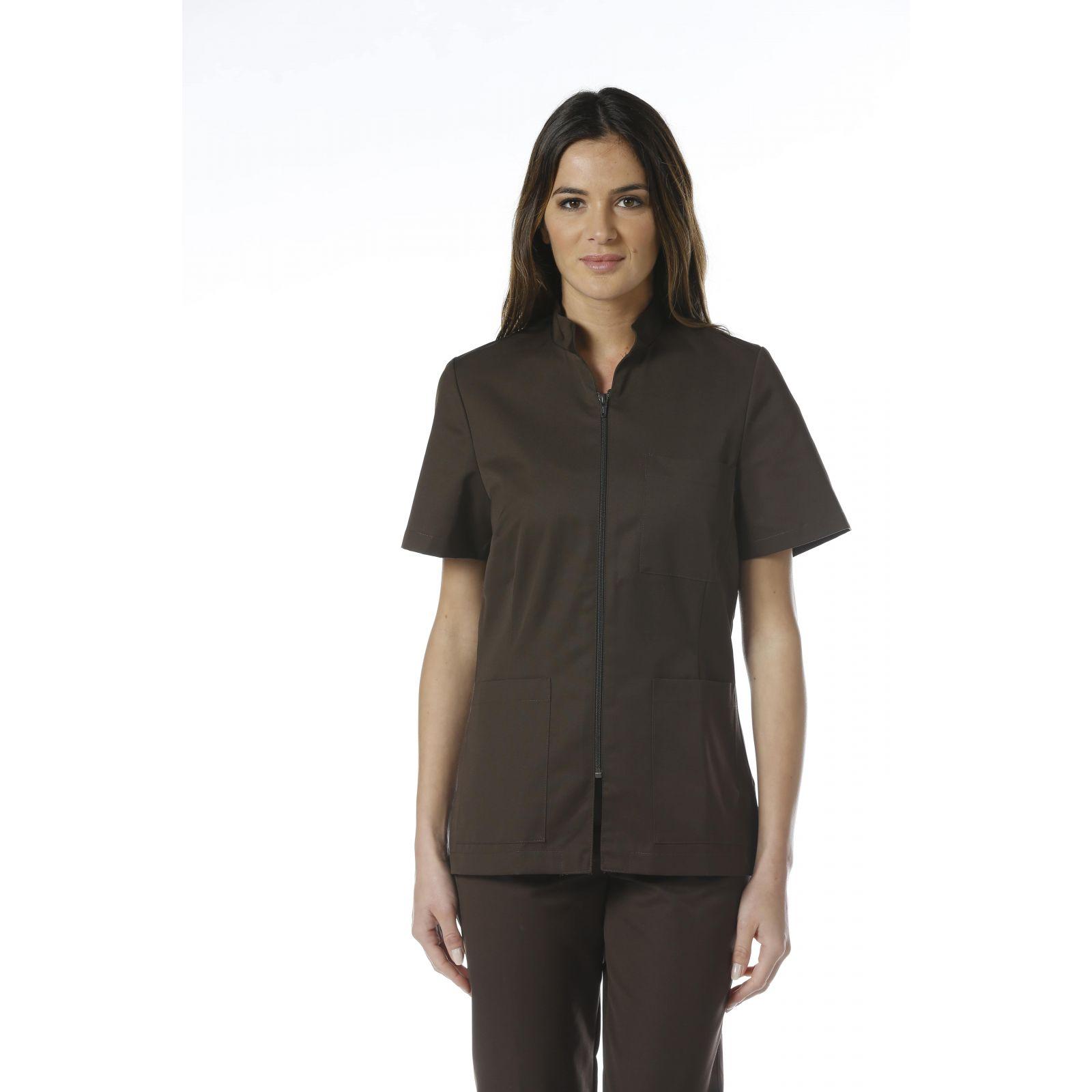 """Blouse médicale Col Mao Zip femme, CMT collection """"stretch"""" (2496) marron"""
