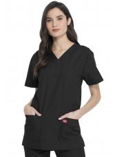 Ensemble médical Blouse et Pantalon, Unisexe, Dickies (DKP520C) noir blouse femme coté