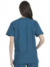 Ensemble médical Blouse et Pantalon, Unisexe, Dickies (DKP520C) vert caraibe blouse femme dos