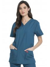 Ensemble médical Blouse et Pantalon, Unisexe, Dickies (DKP520C) vert caraibe blouse femme face