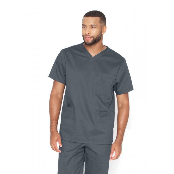"Blouse médicale Unisexe, collection ""Barco One Essentials"" (BE002) gris face"