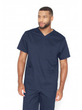 "Blouse médicale Unisexe, collection ""Barco One Essentials"" (BE002) bleu marine face"