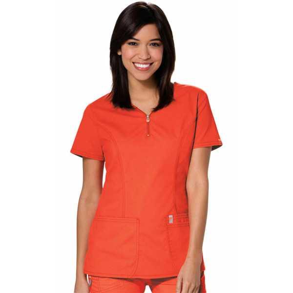 Blouse médicale anti-taches et antimicrobienne, col zip femme, Code Happy (46600AB)