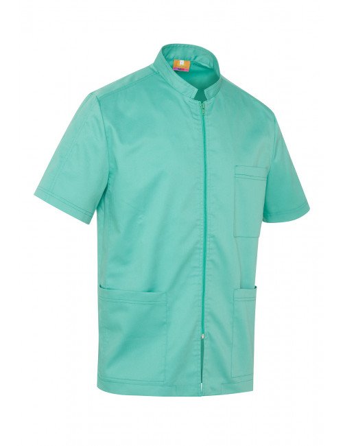 Medical Blouse Water Green, Woman, Zipper, Camille Lavandie (2622AQU)
